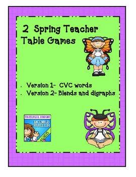 2 differentiated  easy CVC & blends/digraph word - games for teacher table