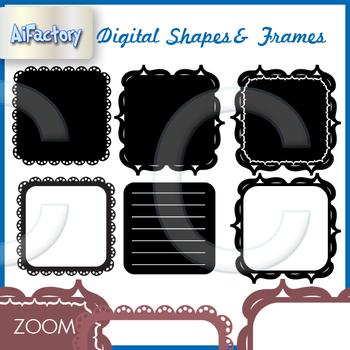 square shapes frames , fills borders clipart set