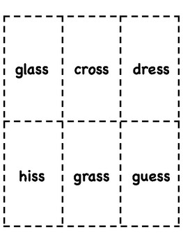 ss Double Final Consonant Bingo [10 playing cards]