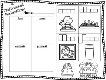 ss Double Final Consonant Read-and-Draw