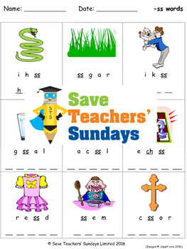 ss phonics worksheets, activities and other teaching resources