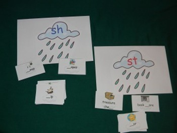 /st/ Blend and /sh/ Digraph Literacy Center With worksheet - Hard Good