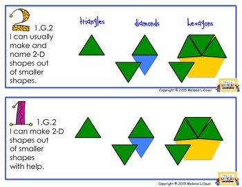 1st Grade CC Math Posters (1.G.1-3) with Learning Goals and Scales - FREE