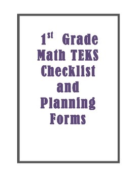 1st Grade New Math TEKS Checklist and Planning Forms