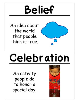 1st Grade Social Studies Vocabulary Cards: Families are Important (Large)