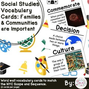 1st Grade Social Studies Vocab Cards: Families & Communities are Important (L)