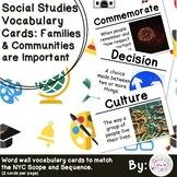 1st Grade Social Studies Vocab Cards: Families & Communiti
