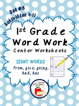 1st Grade Word Work Center Worksheets (Sight Words) Set #3