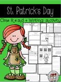 st. patrick's day close read, writing activity, and enriching activities
