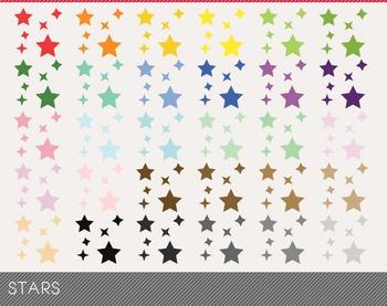 stars Digital Clipart, stars Graphics, stars PNG, Rainbow stars Digital Files