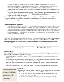 start of the year classroom policies disclosure handbook editable template