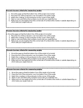 steps to success / success criteria measuring angles
