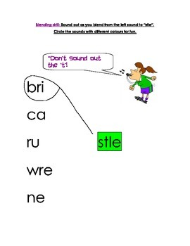 stle (consonant le syllable) worksheet and blending