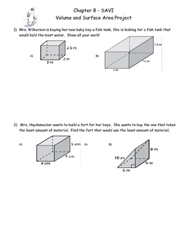 story problems - surface area and volume
