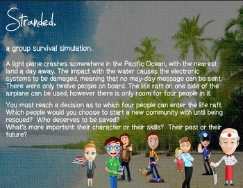stranded - a group survival simulation.  Social Studies CCSS