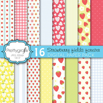 strawberry digital paper, commercial use, scrapbook papers, background - PS604