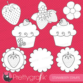 strawberry digital stamp commercial use, vector graphics, images - DS505