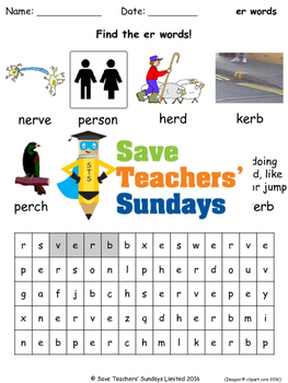 stressed er phonics lesson plans, worksheets and other teaching resources