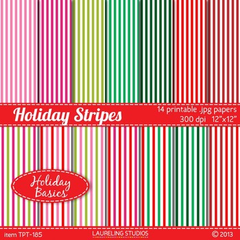 striped digital paper for Christmas/holiday in red/green/pink .jpg files TPT185