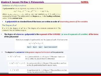 student: Algebra 2: CU 2: P.4 Day 1: Polynomials