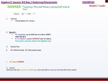 student: Algebra 2: CU 2: P.5 Day 2: Factoring Polynomials