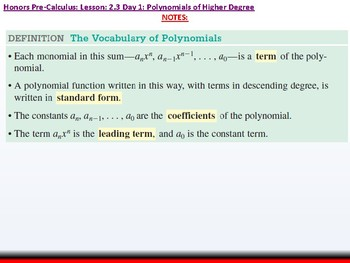 student: HPC: CU 2A: 2.3 Day 1: Polynomial functions of Higher Degree with Model