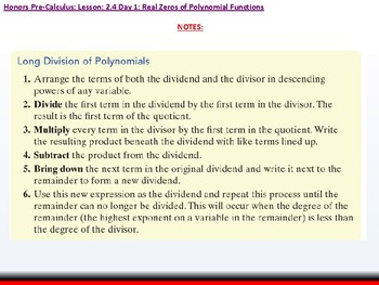 student: HPC: CU 2A: 2.4 Day 1: Real Zeros of Polynomial Functions