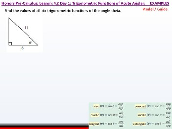 student: HPC: CU 5: 4.2 Day 1: Trigonometric Functions of Acute Angles