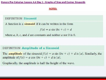 student: HPC: CU 6: 4.4 Day 1: Graphs of Sine and Cosine; Sinusoids