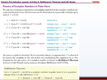 student: HPC: CU 9: 6.6 Day 2: DeMoivre's Theorem and nth Roots