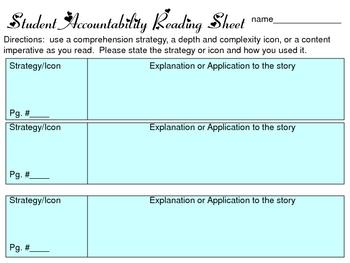 student accountability recording sheet