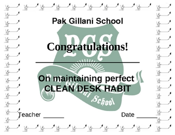 student clean desk award