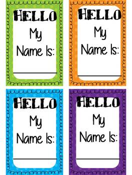 student name tags for classroom management (can be edited) Solid and polka dot