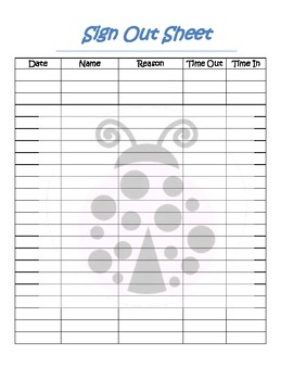 Student Sign Out Sheet With Ladybug Theme