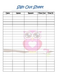student sign out sheet with owl theme