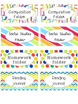 students' folders labels