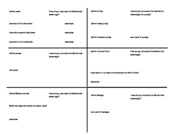 study guide foldable for simple machines test