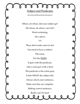 subject and predicate poem
