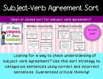 subject verb agreement sort by 5thGradeRocks, 5thGradeRules ...