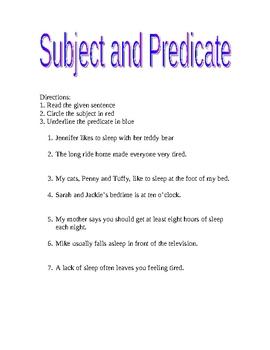 subject/predicate handout