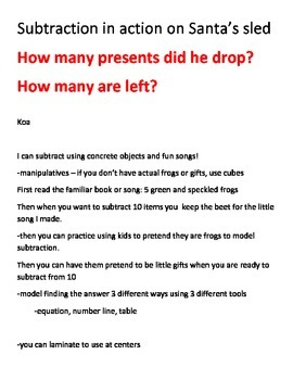 subtract with 5 green frogs and 10 little presents