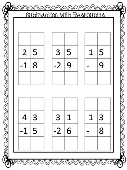 subtracting with regrouping practice sheet