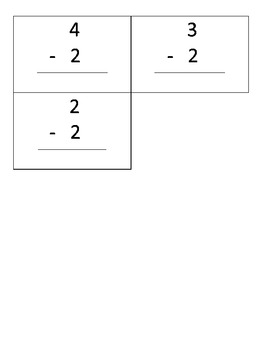 subtraction flash cards -0, -1, -2