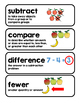 subtraction vocabulary- 1st grade GoMath chapter 2 vocabulary for math word wall