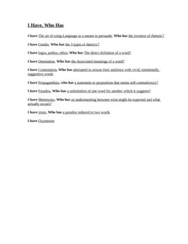 summarizing activity for Rhetoric PowerPoint I have who has game