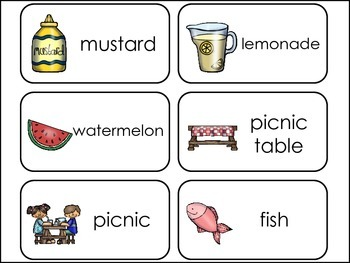 Summer Barbecue Picture Word Flash Cards.