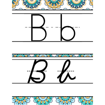 summer PAISLEY - Classroom Decor - Alphabet, Handwriting, ABC print, D'Nealian