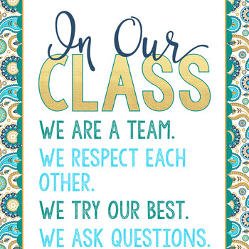 summer PAISLEY - Classroom Decor - BANNER - MED - In Our Class
