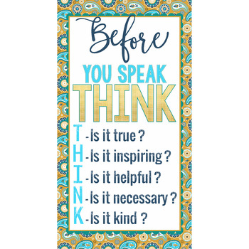 summer PAISLEY - Classroom Decor - BANNER - SMALL - Before You Speak THINK