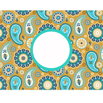 summer PAISLEY - Classroom Decor, LUGGAGE tags and CAN covers, editable